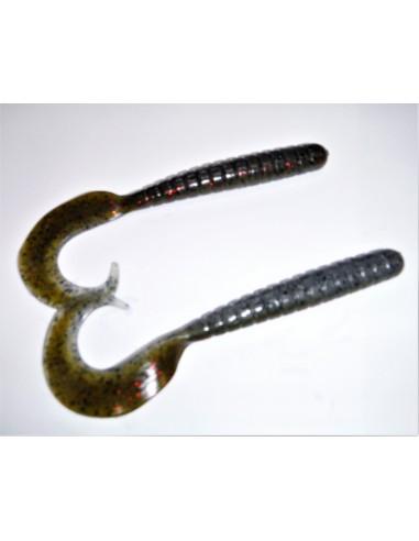 herakles esca da black bass soft bait razor grub 4,5 inch. col. green shad flk