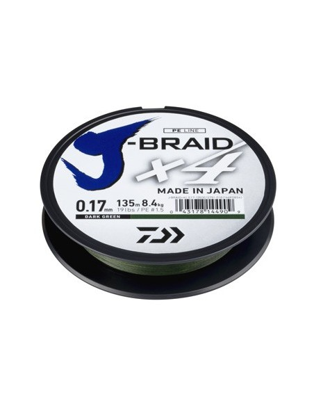 DAIWA TRECCIATO J-BRAID X4 DARK GREEN (VERDE SCURO) MT. 135
